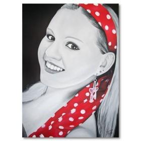 Αφίσα (κορίτσι, με, κόκκινος, κασκόλ)